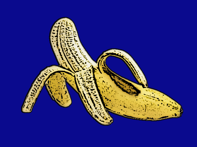 You see the picture of a banana on a blue background!